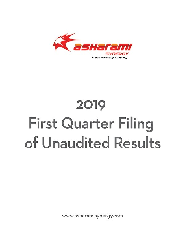 2019 First Quarter Filing of Unaudited Results